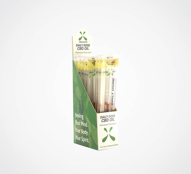 CBD Drops boxes with display